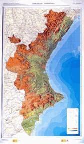 Mapa Fisico Comunitat Valenciana.Mapa Relieve Comunidad Valenciana 77x125 1 300 000 Mapas En Relieve Mapiberia F B